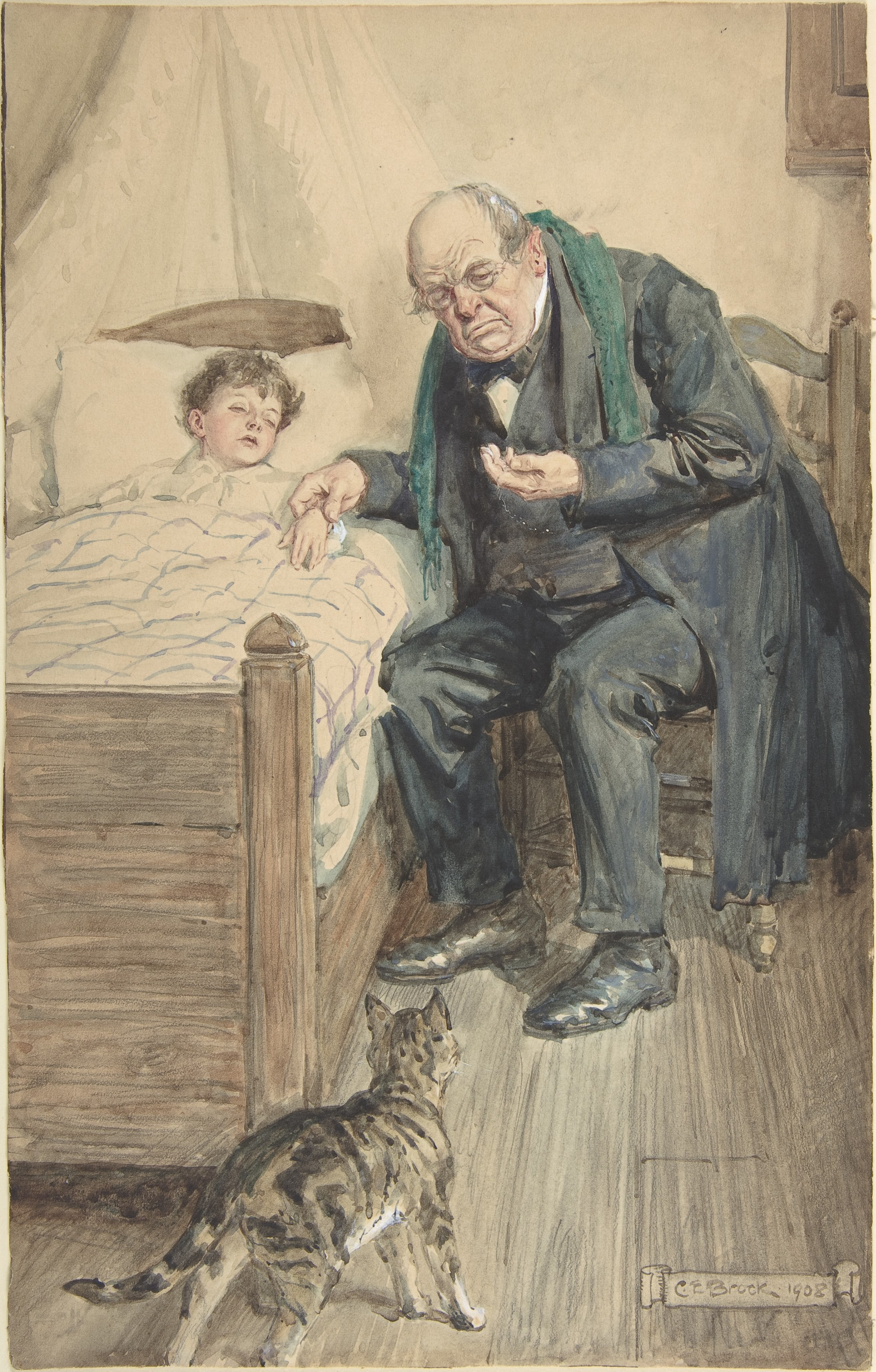 Illustration for the book, Little Peter, A Christmas Morality Charles Edmund Brock (1908)